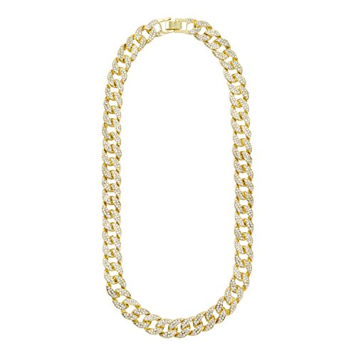 Jewelry4All 16mm Iced Out Gold Plated Cuban Link Chain with Simulated Diamond Crystals 20 ()