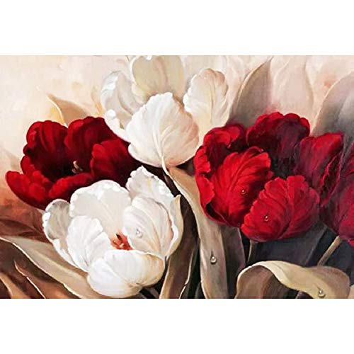 DIY Handwork Store 5D Full Round Diamond Painting Kits by Numbers Red and White Tulip DIY Mosaic Cross Stitch Pattern Handmade Embroidery Painting Home Wall Decor(15.75''x 11.81'')