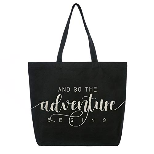 (ElegantPark And So the Adventure Begins Wedding Bride Tote Bachelorette Party Gift Personalized Travel Shoulder Bag Canvas Black with Silver Glitter)