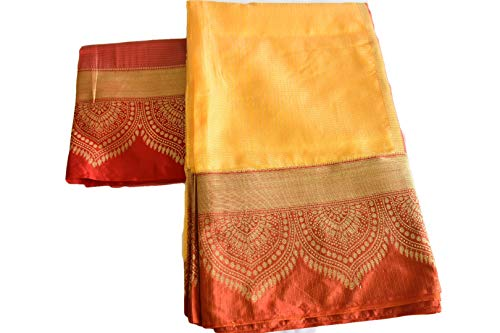 Rainbow Collections Linen Saree in Gold Zari and Red Color Border and Pallu in Light Yellow Color. Saree Fall and Edge is Fully - Saree Pallu