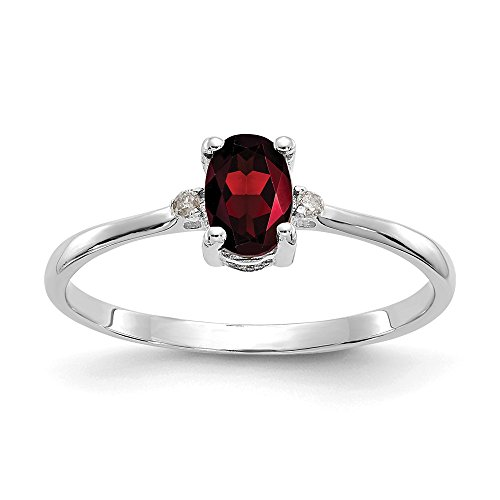 14k White Gold Diamond Red Garnet Birthstone Band Ring Size 6.00 Stone January Oval Fine Jewelry Gifts For Women For Her
