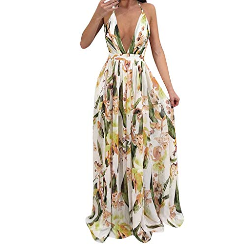 - Copercn Women's Ladies Daffodil Plant Print Sexy Deep V-Neck Sleeveless Cross Halter Cold Shoulder Wrap Waist Backless Maxi Dresses Swing Long Dresses Evening Party Dresses Cocktail Dresses