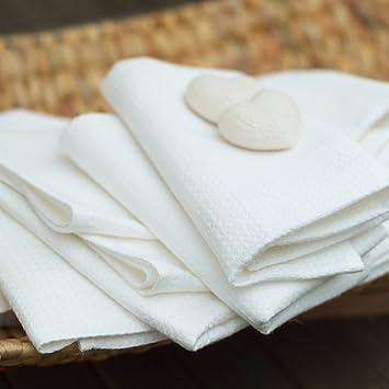 Toalla de baño de lino y algodón. Estampado de cuadros. Color blanco. LinenMe 100 x 140 cm.: Amazon.es: Hogar