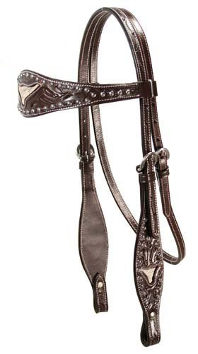 Horse 1908 (Tahoe Tack Sunspot Floral Tooled Longhorn Inlaid Horse Headstall USA Leather)