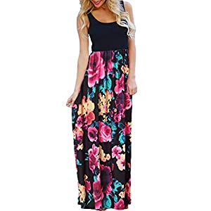 OURS Women's Casual 3/4 Sleeve Long Maxi Dresses Loose Floral Maxi Dresses with Pockets