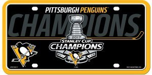 (Pittsburgh Penguins 2017 Champions Metal Aluminum Novelty License Plate Tag Hockey Stanley Cup)