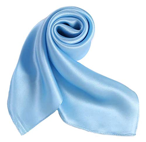 100% Pure Mulberry Silk Small Square Scarf -21'' x 21''- Breathable Lightweight Neckerchief -Digital Printed Headscarf (Solid Color-Pale Blue)