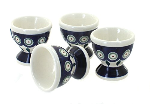 Blue Rose Polish Pottery Peacock Egg Cup Set