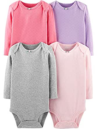 e6e3ff5786 Amazon.com  Simple Joys by Carter s Baby Girls  4-pack Long Sleeve ...