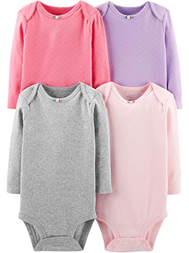 Simple Joys by Carter's Girls' 4-Pack Soft Thermal Long Sleeve Bodysuits, Pink/Purple/Grey 6-9 Months