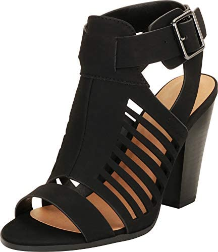 Cambridge Select Women's Open Toe Laser Cutout Caged Chunky