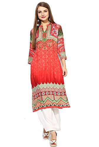 Lagi Multi Designer Women's Kurta and Kurtis Indian Tunic Top Womens Printed Blouse India Clothing M, Red(RK2065C) by Lagi