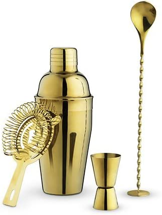バーセット ゴールド ステンレススチール モダン装飾バーウェアツールセット 4個セット (ケース販売、4個入り)