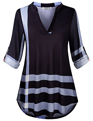 SeSe Code Plaid Shirts for Women Ladies Business Casual Clothes Flowy Tunic Checkered Pretty Work Shirt Trapeze Roll Up Tab Sleeve Blouse Red White and Black Large ()