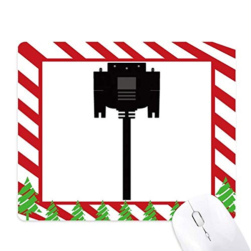 Black Display Screen Cable Plug Mouse Pad Candy Cane Rubber Pad Christmas Mat
