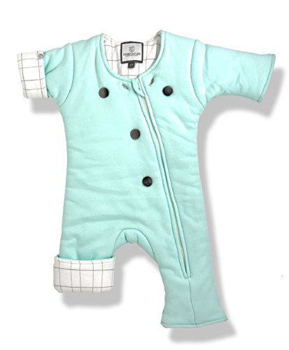 Helps Infants Transition from Swaddle: Sleepsuit/Wearable Blanket for Baby/3-9 Months 12-21 lbs (Mint_Grid) Sleep Suit
