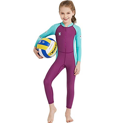 - Fine Neoprene Kids Wetsuit for Boys Girls One Piece Full Body Long Sleeve Swimsuit, UV Protection Keep Warm for Scuba Diving Snorkeling Swimming Fishing (Hot Pink, M)