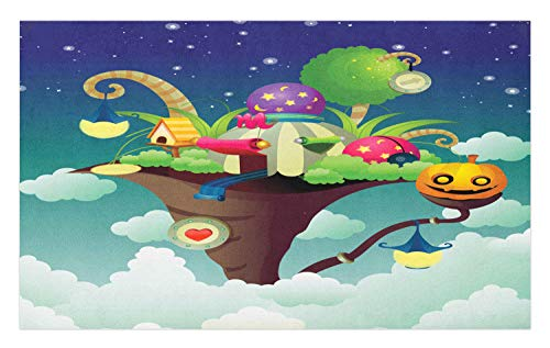 Ambesonne Birdhouse Doormat, Dreamy Cartoon Design Magic Nest Tent with Halloween Items Carved Pumpkin Print, Decorative Polyester Floor Mat with Non-Skid Backing, 30 W X 18 L Inches, Multicolor]()