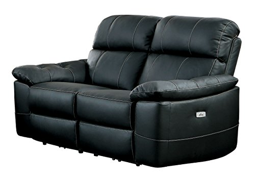 Homelegance Nicasio Contemporary All Genuine Leather Power Reclining Loveseat, Black