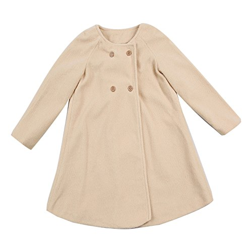 Birdfly Toddler Girls Double Breasted Trench Coat Baby Dress Outwear Warm Long Jacket Kids Fall Winter Clothes (18M, Camel) (Weather All Bunting)