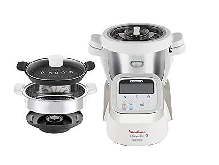 Moulinex i-Companion HF900110 - Robot de cocina Bluetooth 13 programas, hasta 6 personas, incluye cuchilla picadora, batidor, mezclador, amasador, ...