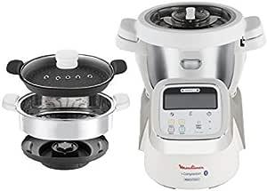 Moulinex i-Companion HF900110 - Robot de cocina Bluetooth 13 programas, hasta 6 personas, incluye cuchilla picadora, batidor, mezclador, amasador, triturador y cesta de vapor, Acc. cortador + vapor: Amazon.es: Hogar