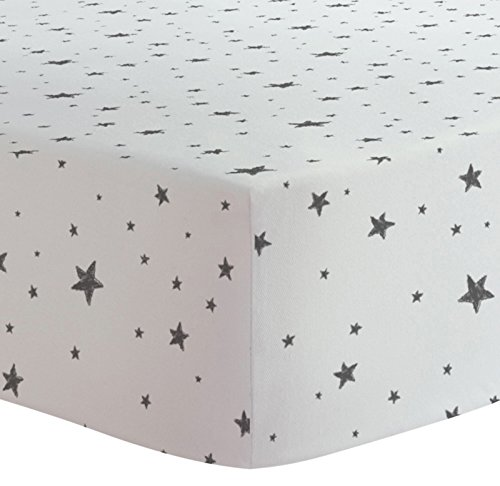 Kushies Crib Sheet Flannel, Scribble Stars Black & White, 1 -