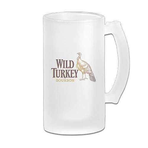 WILD TURKEY BOURBON Logo Great Extra Large Frosted Glass Beer Mug, Personalized Beer Stein, Tea / Coffee Cups - 17 Ounce / 500ML