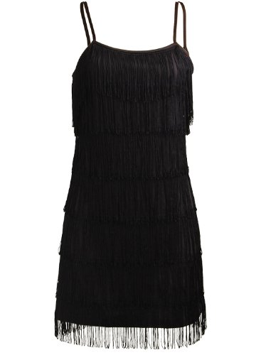 Fringe Dress Black (Fringe Flapper Art Deco 1920s Vintage Retro Cocktail Evening Party Women's Mini Dress - Medium)