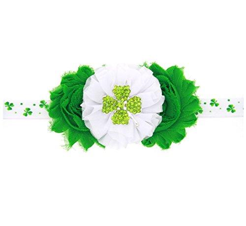 WINZIK Baby Girls Headband 2pcs/Set Cute Shamrock Hairband St. Patrick's Day Irish Party Favor Princess Headdress (Green) ()