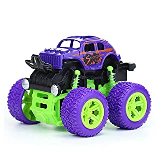 Toy Cars for Kids 1 - 5 Years Old Boys Girls Monster Trucks Push & Go Car Toy Durable Big Wheels 360 Rotating Stunt Toy Vehicle (Purple)