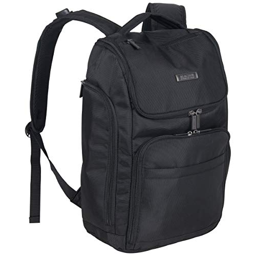 Kenneth Cole Reaction Top Zip Laptop with USB Port (RFID) Backpack, Black One Size