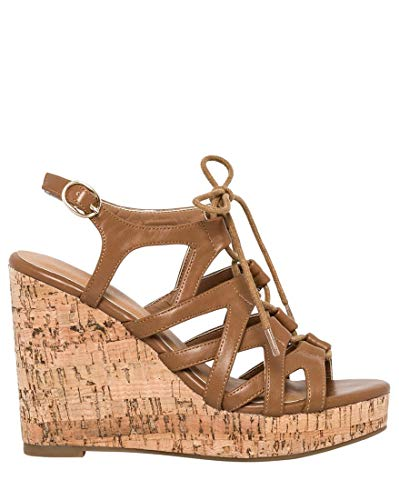 Ghillie Tie - LE CHÂTEAU Leather-Like Ghillie Tie Wedge Sandal,7,Light Tan