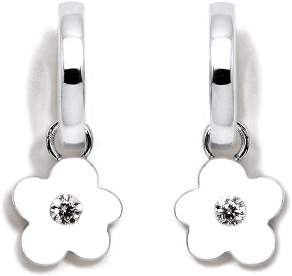 Pendientes plata Ley 925m Agatha Ruiz de la Prada colección Criollas de Agatha aros flor colgante