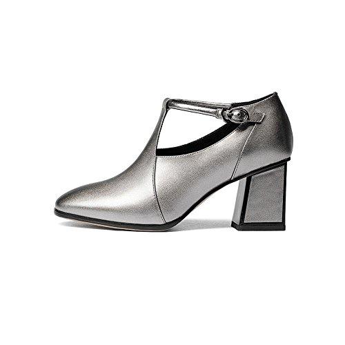 YWNC Chaussures en cuir véritable femmes 2018 New Square Head Rough High Heels Four Seasons travail boucle profonde bouche chaussures simples gun color VnSqs