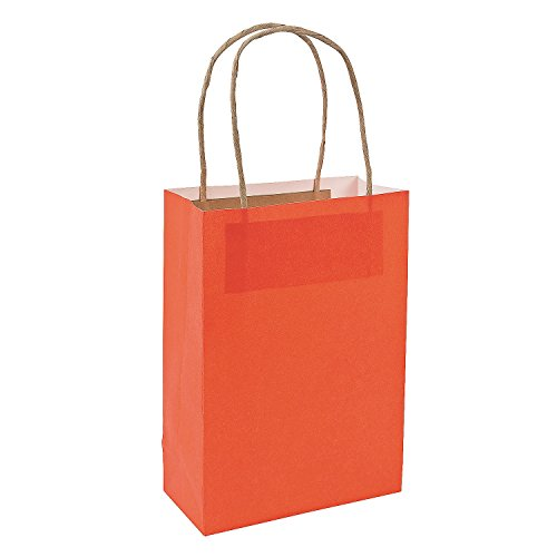 Orange Medium Craft Paper Bags (12 Pack)