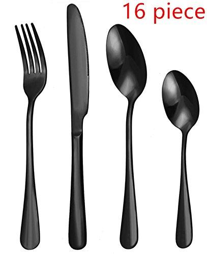 WOAIWO-Q Cutlery Set Stainless Steel,Flatware Set,Tableware Set,Dinnerware Set for 4 Person, Kitchen Silverware Cutlery Tableware Dinnerware Anti-rust Black Utensil Set, Steak Knife Set