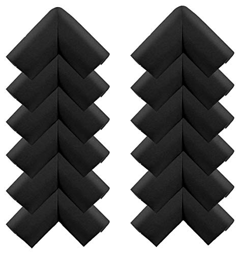 - Child Safety Corner Edge Protector Rubber Furniture Bumper Protector Trim Multifunctional 12 Packs, Black Color