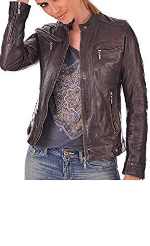 - Prim leather Women's Lambskin Leather Bomber Biker Jacket Large Brown