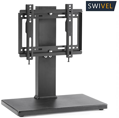 Wood Flat Screen Tv - TAVR Universal Swivel Tabletop TV Stand with Mount for up to 37 inch LED,LCD and Plasma Flat Screen TVs with Height Adjustment Function,Wood Black UT1003