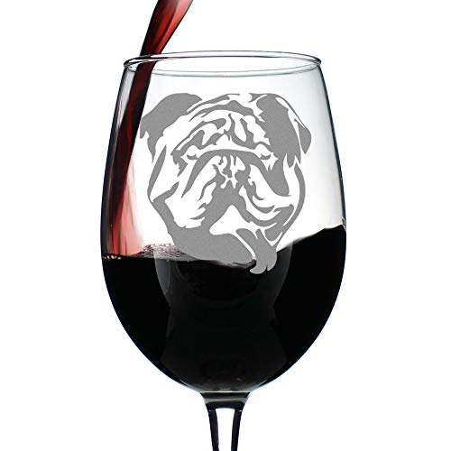 Bulldog Wine Glass with Stem - Large 16.5 oz Glasses - Cute Gifts for Dog Lovers with English Bulldogs