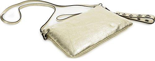 GIANNI CHIARINI, Damen Leder Clutches, Umhängetaschen, Schultertaschen, Abendtaschen, Metallic-Optik, 28 x 18 x 6 cm (B x H x T), Farbe:Lightgold