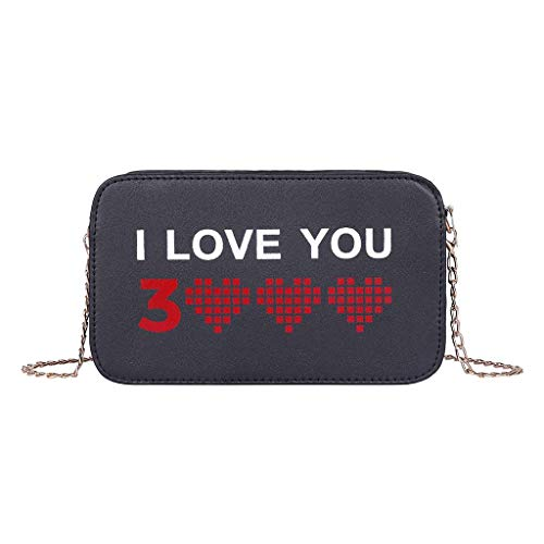 Kailemei Women Casual Bag Girls Metal Chain Letter Handbag Shoulder Crossbody Love Heart Printing (Black)