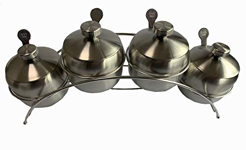 Blue Pearl Condiment Seasoning Pots Set with Spice Rack Large Capacity (4 - Set Blue Condiment