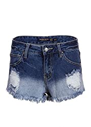 Womens Distressed Denim Ombre Wash Jean Jeans Shorts - Size Small