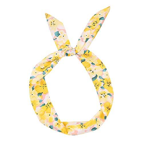 LOKODO Small Floral Headband Paisley Rockabilly Wired Headband Polka Dot Tartan Retro Scarf Wire Hair Band]()