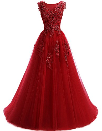 Ever Girl Women's Sweep Lace Appliques Scoop Collar Tulle A-Line Prom Dresses Wine Red US14