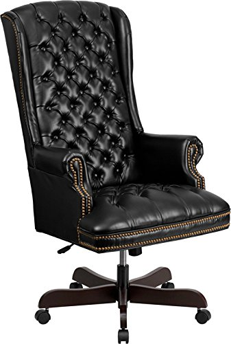- Kenwood LE High Back Traditional Fully Tufted Black Leather Executive Swivel Ergonomic Office Chair with Arms