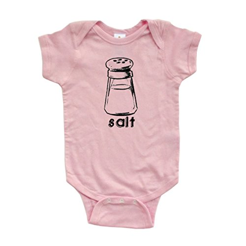 [Halloween Costume - Cute Twin Short Sleeve Bodysuit With Salt (Goes With Pepper) Print (Newborn, Light] (Halloween Costumes Ideas For Newborns)
