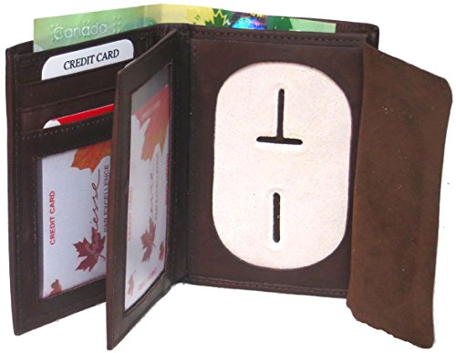 Investigator Badge - Genuine Cowhide Leather Badge RFID Wallet for Firefighters, Police etc. #4622RB (Brown) US